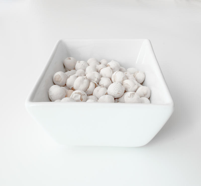 White chickpeas on white background. White chickpeas isolated on white background royalty free stock photography