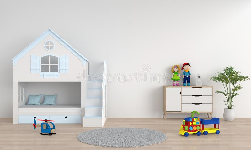 White child bedroom interior for mockup, 3D rendering royalty free illustration