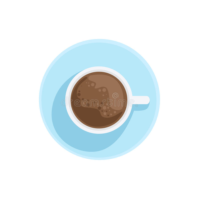 White China Cup With Black Coffee Standing On The Plate Illustration royalty free illustration