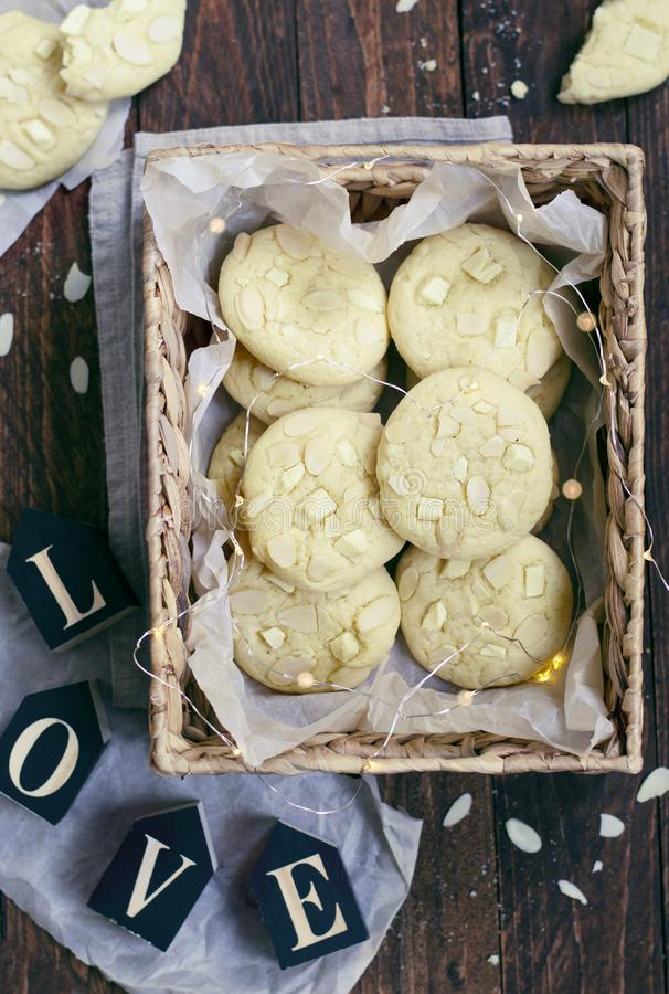 White Chocolate and Almond Cookies stock image