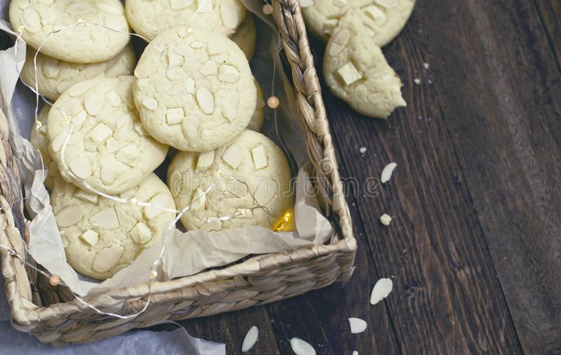 White Chocolate and Almond Cookies royalty free stock photos