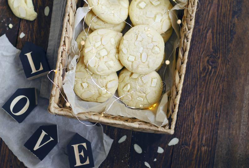 White Chocolate and Almond Cookies stock photos