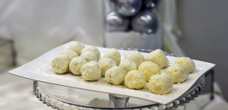 White chocolate balls stock image