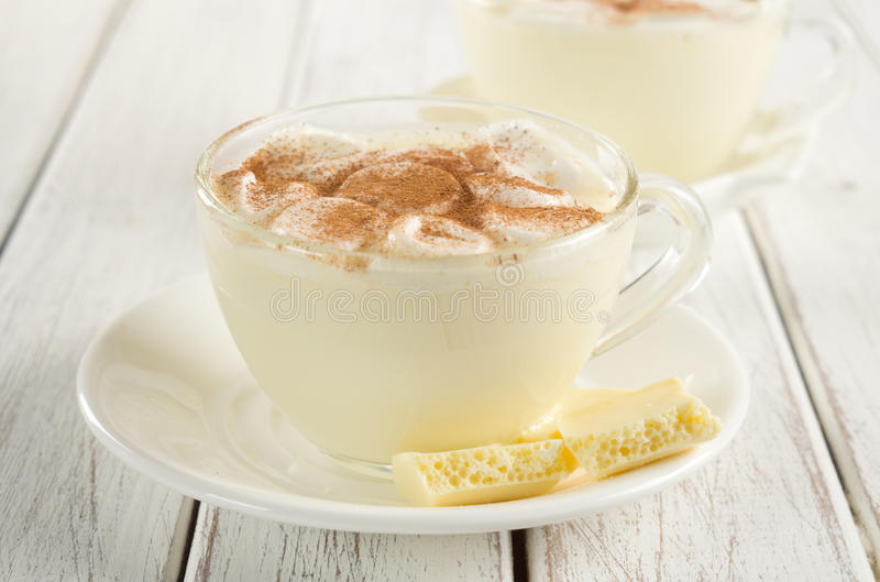 White chocolate. With milk and cinnamon, marshmallows stock photography
