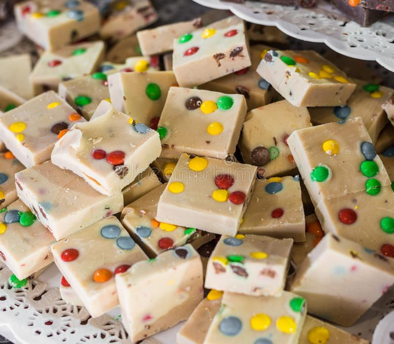 White chocolate at a street food market. White chocolate at street food market stock image