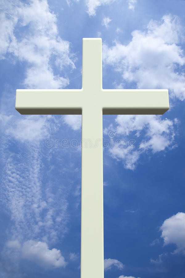 White Christian cross in front of a cloudy sky royalty free illustration