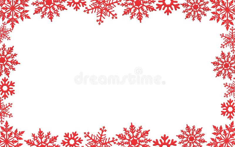 White Christmas background with red snowflakes border abstract royalty free illustration