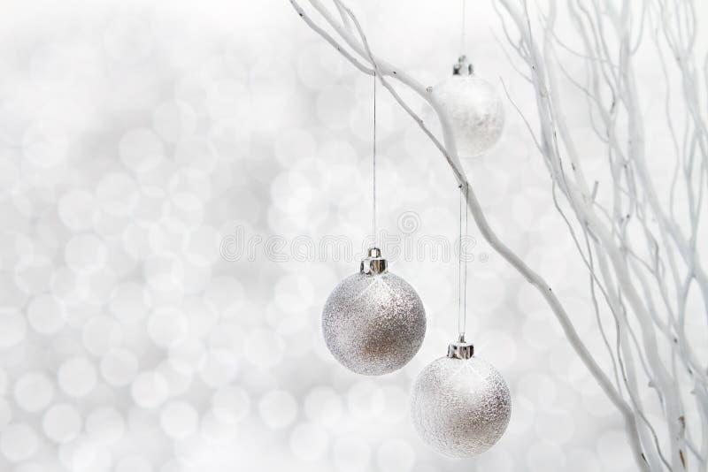 White christmas background silver balls stock photos