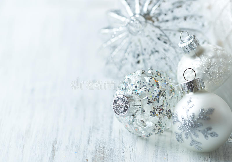 White Christmas balls. Close up stock images