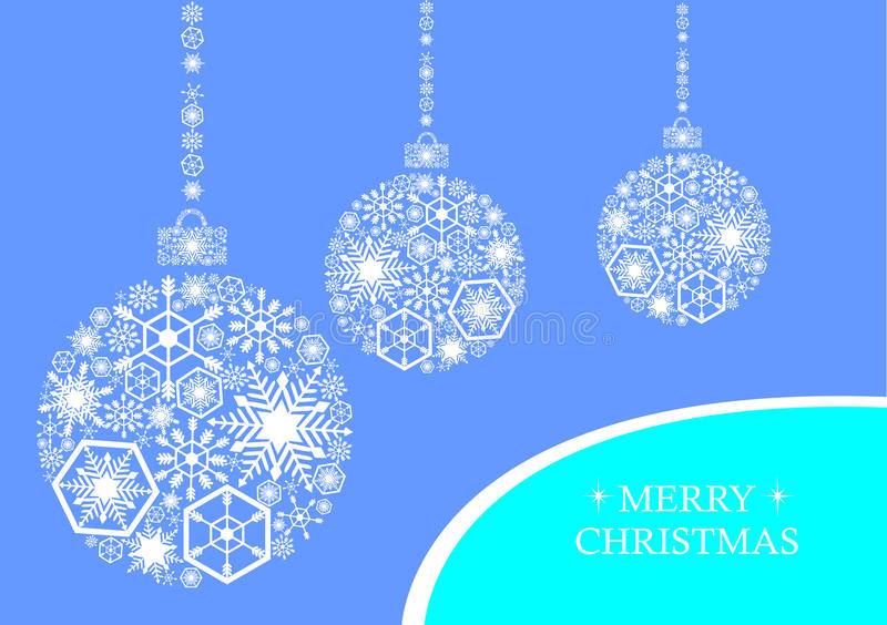 White christmas balls with snowflakes on a blue background. Holiday card vector illustration
