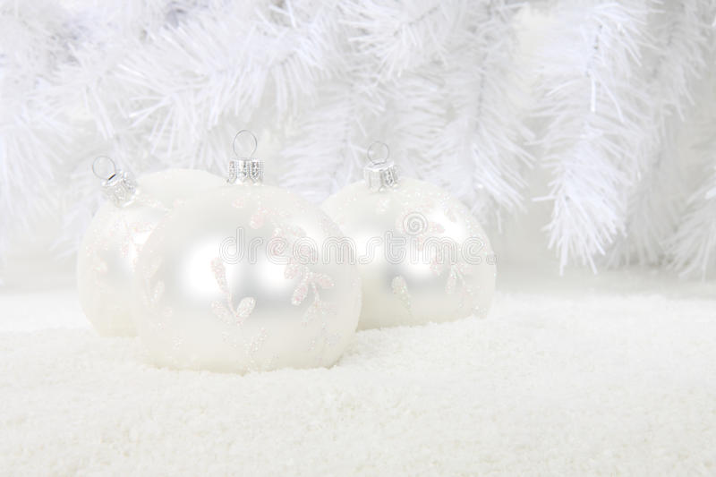 Download White Christmas Baubles In Snow Stock Photos - Image: 11914803