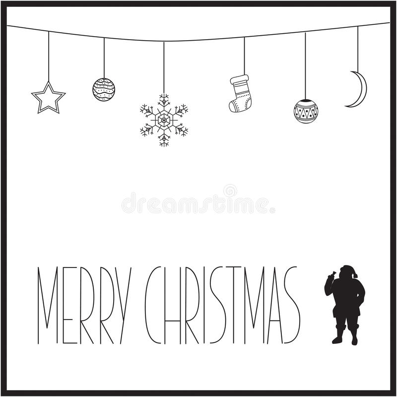 White Christmas card with black text and silhouette of Santa Claus. vector illustration stock photos