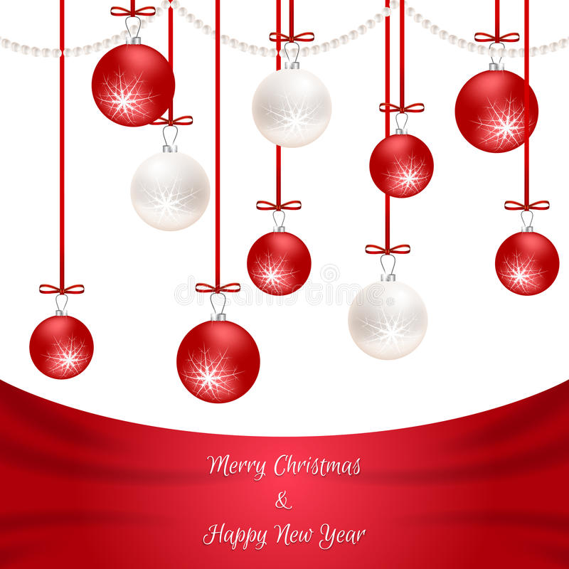 White Christmas card with red silk and hanging balls. Suitable for invitations. Vector vector illustration