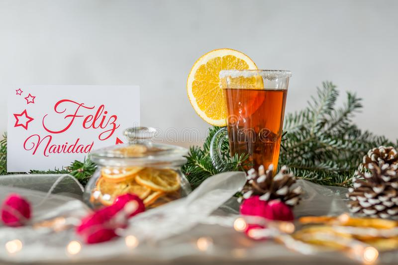 White christmas card and tea stock images