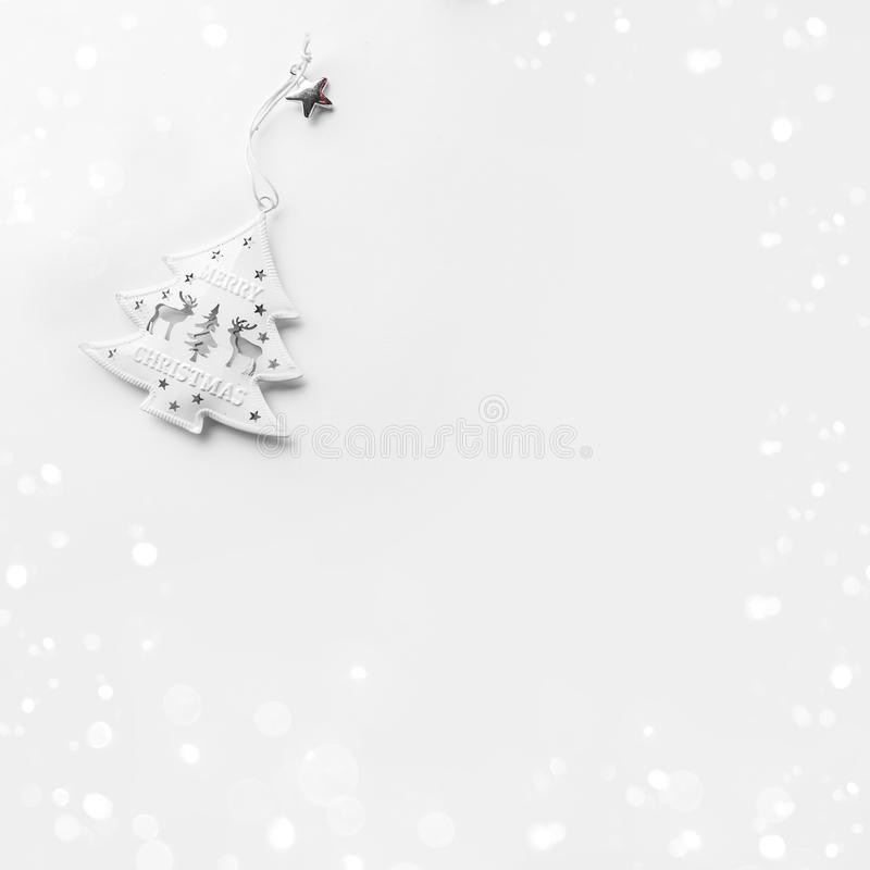 White Christmas decoration on white background with pine cones. royalty free stock images