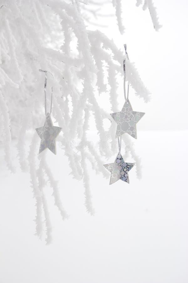 White christmas decoration outdoors royalty free stock photo