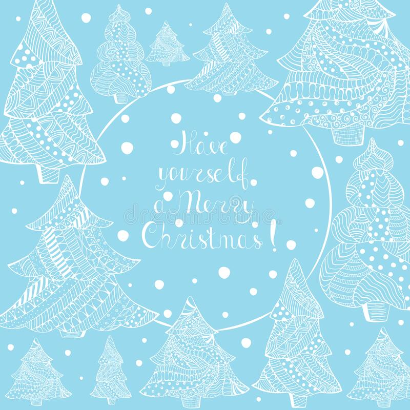 White Christmas Fir Trees and Lettering on Blue. Christmas Fir Trees, Lettering. Hand drawn, Doodle Christmas Pine Trees with Abstract Patterns, Handwriting vector illustration