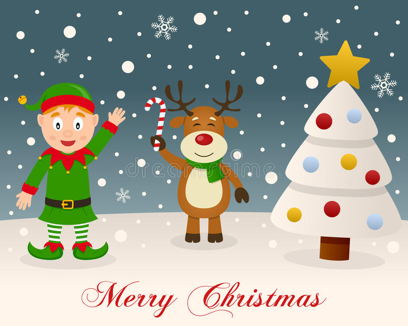 White Christmas - Green Elf & Reindeer royalty free stock images