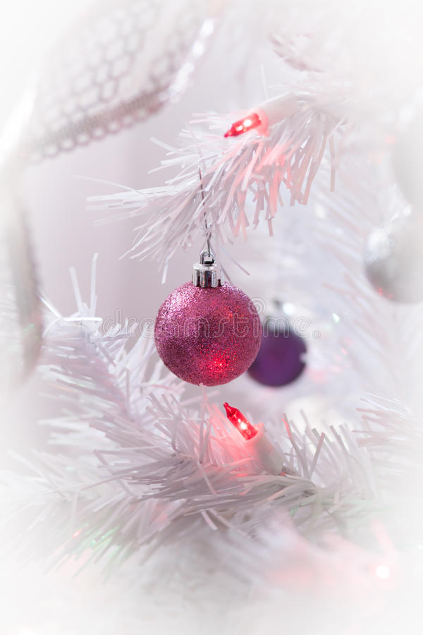 White Christmas. Ornaments on a White Tree stock photography