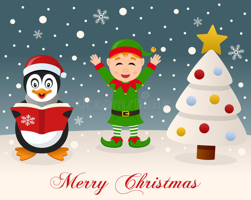 White Christmas - Penguin & Cute Green Elf stock photos