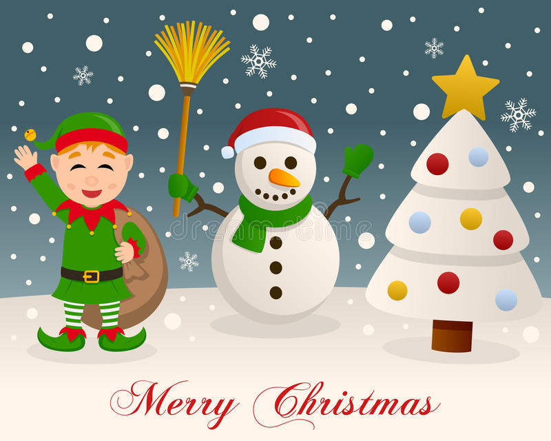 White Christmas - Snowman & Green Elf royalty free stock photo