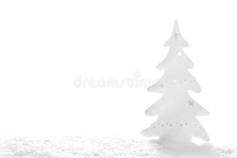 White Christmas: Snowy Tree On White Background Royalty Free Stock Photo