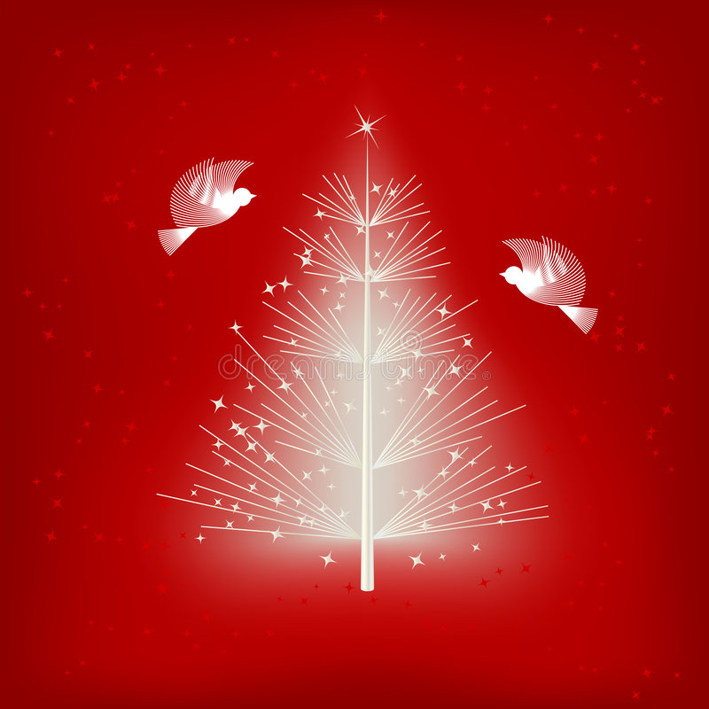 White Christmas tree royalty free illustration
