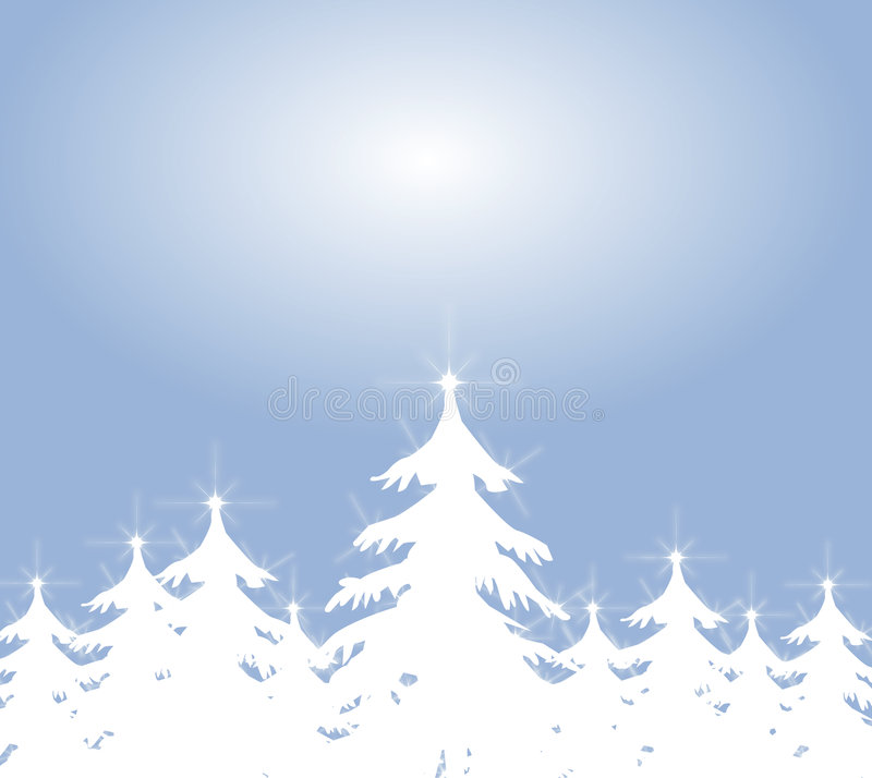 White Christmas Tree Backround royalty free illustration