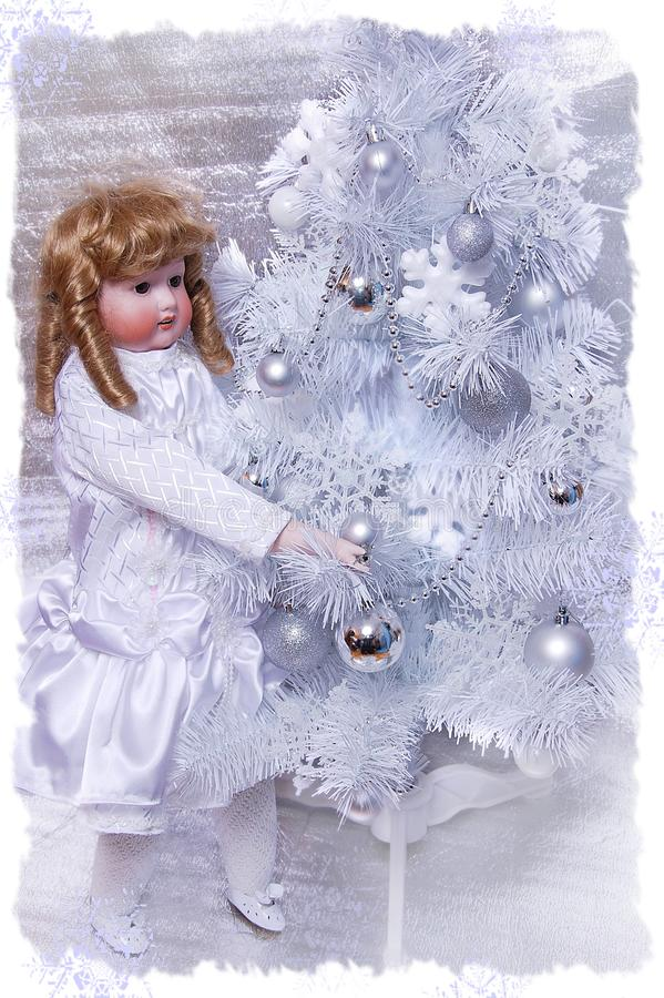 White Christmas Tree stock photo