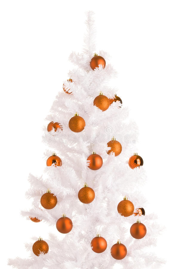 White Christmas tree. And orange balls, white background royalty free stock images