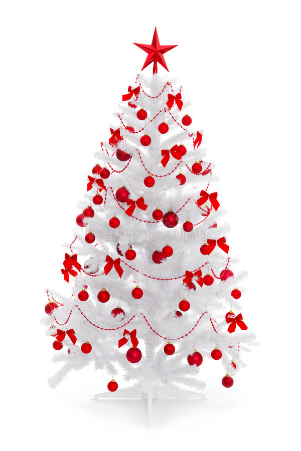 White Christmas Tree With Red Decoration Stock Image Image 17362919