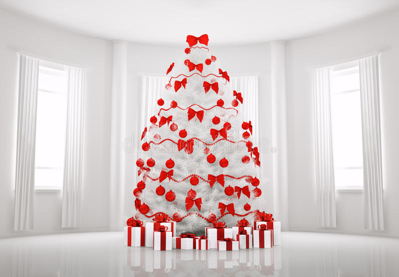 White Christmas tree in the room interior 3d stock illustration