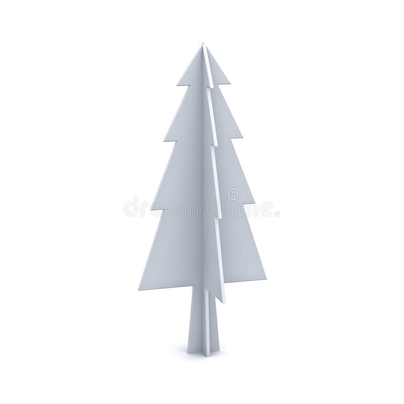 White christmas tree on white background for christmas decoration. 3D rendering stock illustration