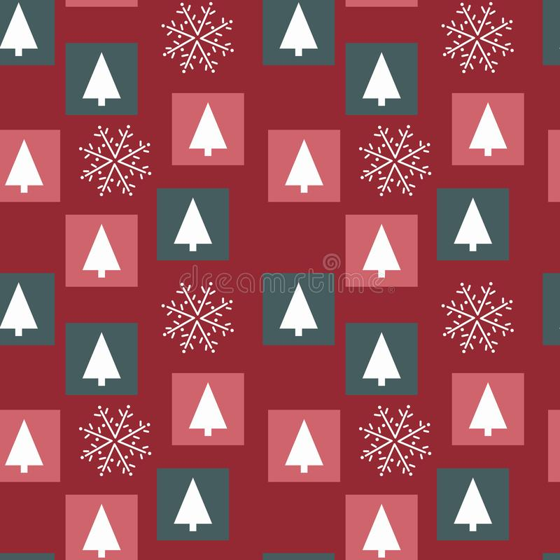 Free White Christmas Trees And Hand Drawing Snowflakes Red Background, Colored Squares, Christmas Colors Stock Photos - 159162863