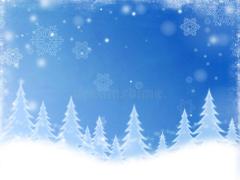 White Christmas Trees In Blue Stock Photography