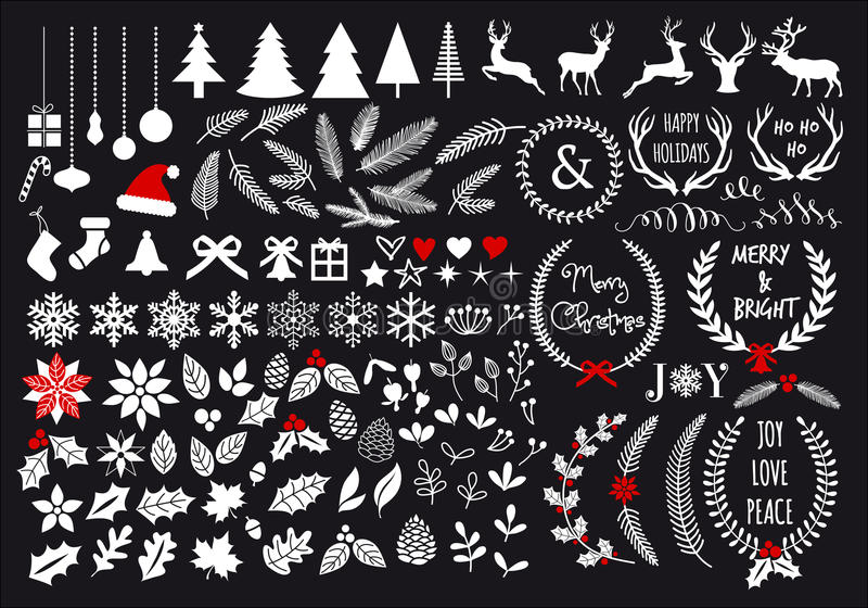 White Christmas, vector set. White Christmas, big set of graphic design elements, vector