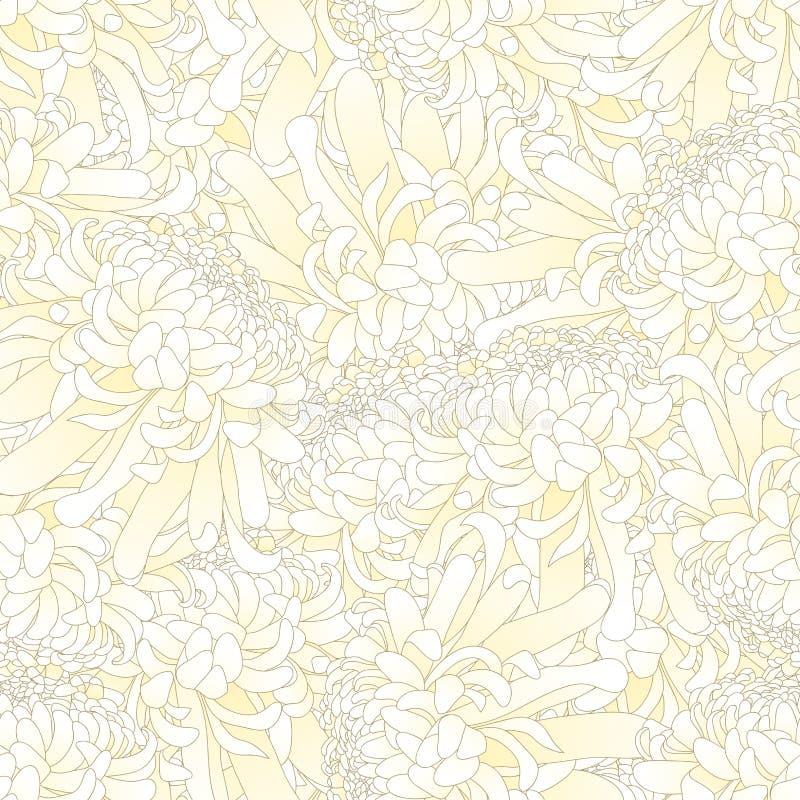 White Chrysanthemum, Kiku Japanese Flower Seamless Background. Vector Illustration.  vector illustration