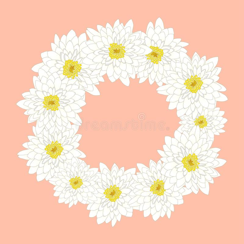 White Chrysanthemum Wreath isolated on Pink Background. Vector Illustration royalty free illustration