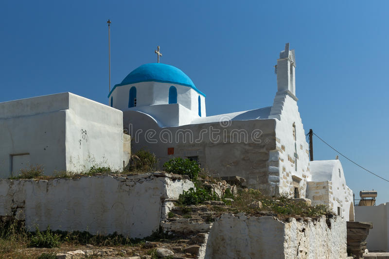 White chuch with blue roof in town of Parakia, Paros island, Greece. White chuch with blue roof in town of Parakia, Paros island, Cyclades, Greece stock photos