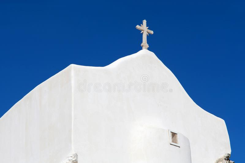 White church in Chora, the capital of Ios island, Cyclades, Greece. White church on the highest spot of Chora, the capital of Ios island, Cyclades, Greece stock photos
