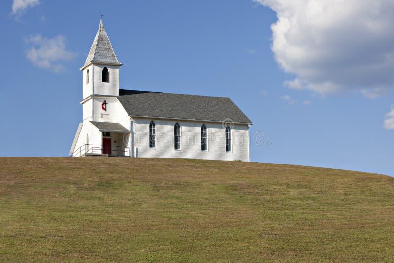 White church on hill stock photo