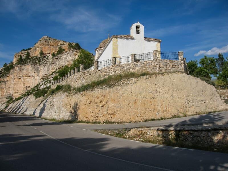 White church near the road at Alcala del Jucar, Castilla la Manca. White church near the road at Alcala del Jucar in Castilla la Manca, Spain stock image