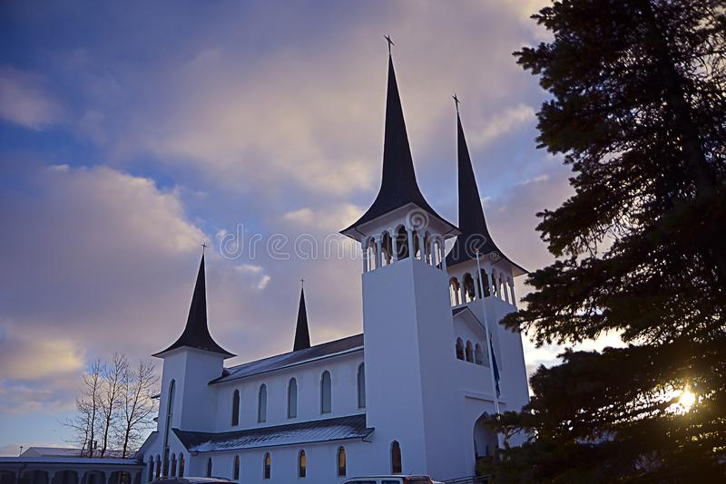 A beautiful white church in Reykiavik. royalty free stock images