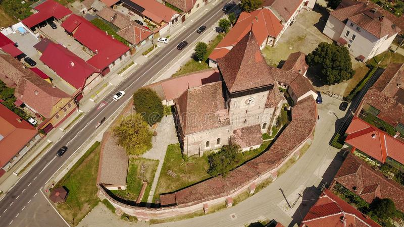 Fortified church of Axente Sever in Romania. White church of Saxon village Axente Sever or Frauendorf in Transsylvania royalty free stock images