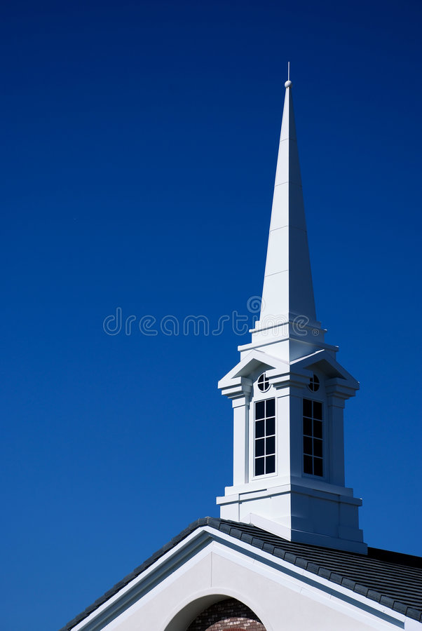 White Church Spire and Roof - Vertical stock photography