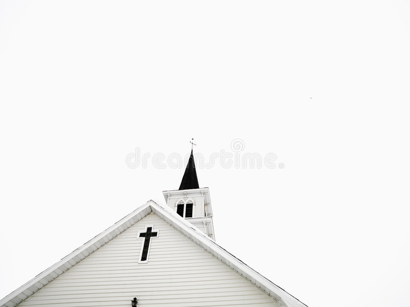 White church with steeple. royalty free stock image