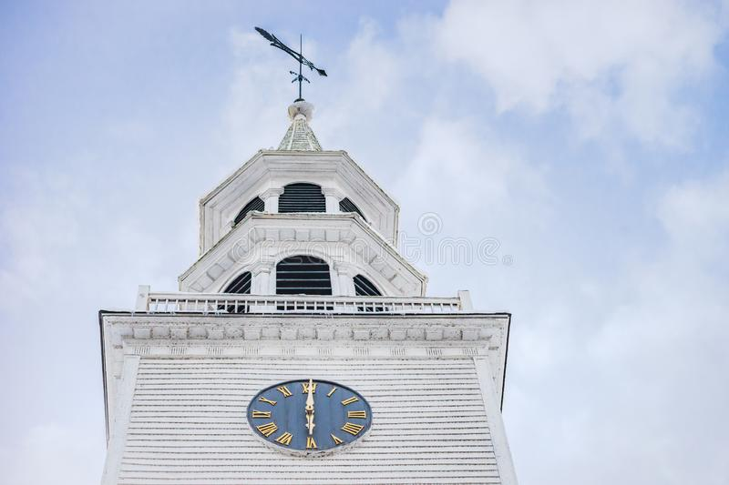 White church steeply and belfry stock images