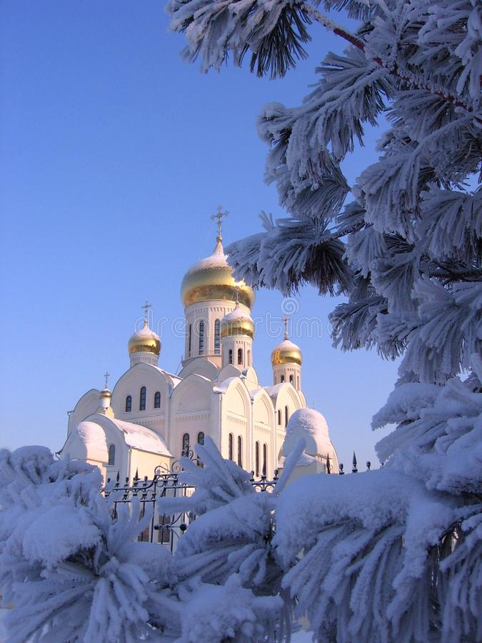 White Church winter landscape in snow-covered pine branches stock photo