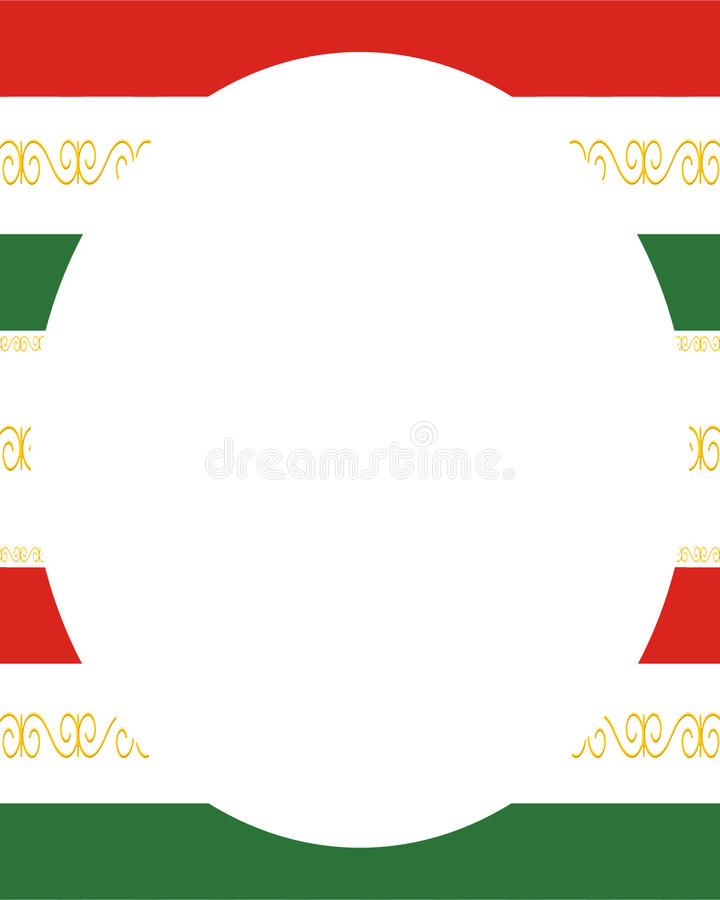 White circle frame background with decorated design borders stock illustration