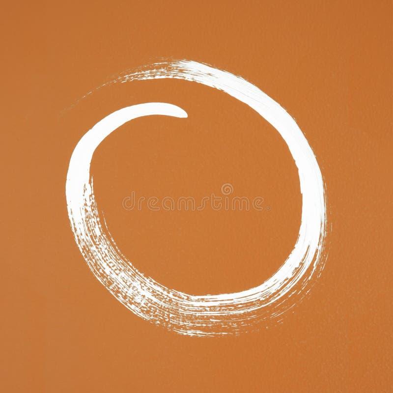 White circle painted on orange background. Brush stroke texture stock photos